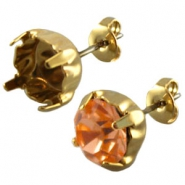 DQ earpins for SS39 chaton Gold plated