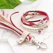 Inspirational Sets Bracelets and keychain with trendy flat cord suede style