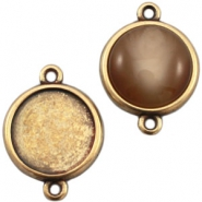 DQ metal setting 2 loops for 12mm cabochon Bronze (nickel free)