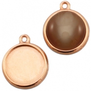 DQ metal setting 1 loop for 20mm cabochon Rose gold (nickel free)