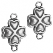 DQ metal clover four 2 loops 19x12mm Antique  Silver (nickel free)