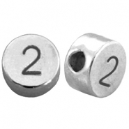 DQ metal number beads # 2 Antique silver (nickel free)