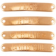 "DQ metal connector mix with quote ""love"" (French)  Rose gold (nickel free)"