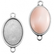 DQ metal oval setting two loops (for 10x13mm cabochon)  Antique silver (nickel free)