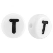 Acrylic letterbeads letter T White