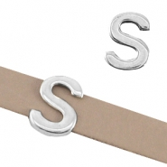 "DQ metal letter slider ""S"" Ø10.3x2.3mm Antique silver (nickel free)"