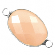 Crystal glass connectors oval 13x18mm Peach opal-silver