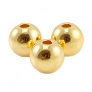 Round DQ metal bead 6mm Gold (nickel free)