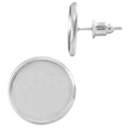 Metal earpins for 12mm cabochon Silver