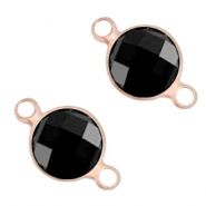 Crystal glass connectors round 8mm Jet black-light rose gold