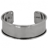 DQ metal findings bracelet base Silver anthracite (nickel free)