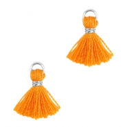 Ibiza style small tassels Silver-Russet orange
