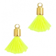 Ibiza style small tassels with end caps Gold-Neon yellow