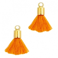 Ibiza style small tassels with end caps Gold-Russet orange