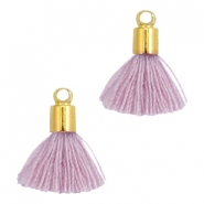 Ibiza style small tassels with end caps Gold-Antique violet