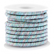 Trendy metallic string Red-light blue