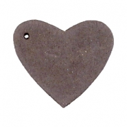DQ leather charms heart Dark vintage brown