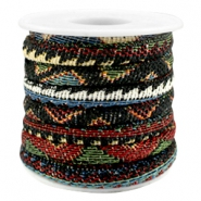 Trendy stichted cord 6x4mm Multicolor black-red-blue