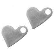 Stainless steel charm crooked heart Silver