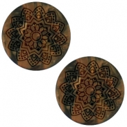 Mandala print flat matt 20 mm cabochon polaris elements Black smoke topaz