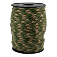 Round trendy 4 mm paracord Army green-beige black