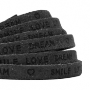 """smile love dream"" print flat 10 mm DQ leather Vintage black"