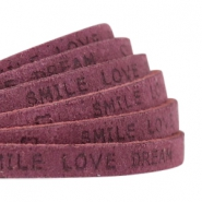 """smile love dream"" print flat 5 mm DQ leather Light aubergine red"