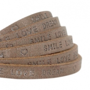 """smile love dream"" print flat 5 mm DQ leather Chocolate brown"