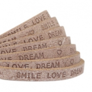 """smile love dream"" print flat 5 mm DQ leather Smoke cognac brown"