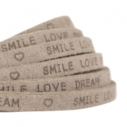 """smile love dream"" print flat 5 mm DQ leather Vintage brown"