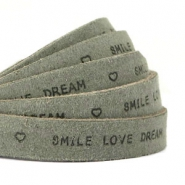 """smile love dream"" print flat 10 mm DQ leather Dark olive green"
