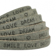 """smile love dream"" print flat 5 mm DQ leather Dark olive green"