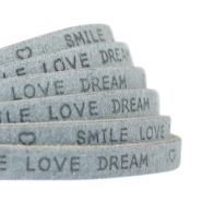 """smile love dream"" print flat 5 mm DQ leather Grey"