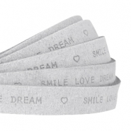 """smile love dream"" print flat 10 mm DQ leather Light grey"