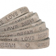 """smile love dream"" print flat 5 mm DQ leather Dark Country grey"