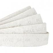 """smile love dream"" print flat 10 mm DQ leather Off white"