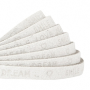 """smile love dream"" print flat 5 mm DQ leather Off white"