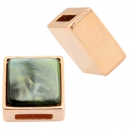 DQ metal square sliders for 8mm Cuoio leather and 12mm cabochon Rose gold
