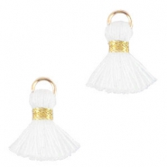 Ibiza style tassels 1.5mm Gold-white