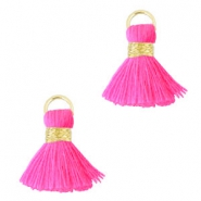 Ibiza style tassels 1.5mm Gold- fluor pink