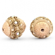 Bohemian beads 14mm Light brown-crystal AB-gold