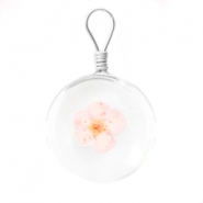 Charms with dried flowers 20mm Light rose
