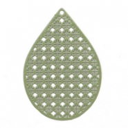 Drop shaped bohemian pendants 35mm Army green