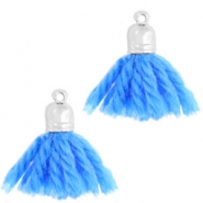 Ibiza style tassels with end cap Silver-light cobalt blue