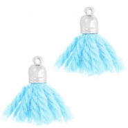 Ibiza style tassels with end cap Silver-light blue