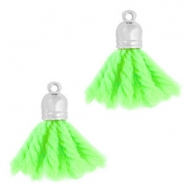 Ibiza style tassels with end cap Silver-fluor green