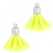 Ibiza style tassels with end cap Silver-fluor yellow