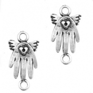 TQ metal charms connctor hand wings Antique silver