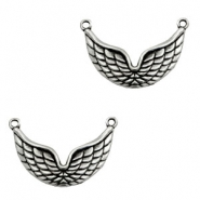 TQ metal charms wings connector Antique silver