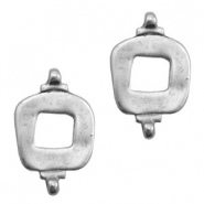 TQ metal charms square connector Antique silver